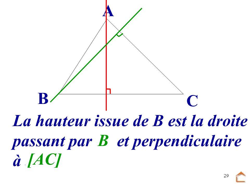 B C A La hauteur issue de B est la droite passant par .... et perpendiculaire à ... B [AC]